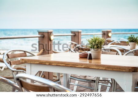 Cafe on the seaside - stock photo