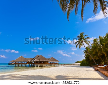 Cafe on tropical Maldives island - nature travel background - stock photo