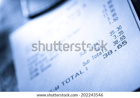Cafe paper cheque for simple order - stock photo