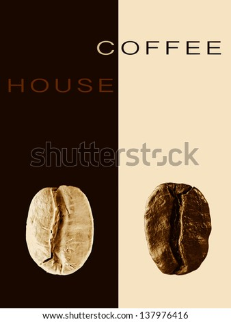 Cafe, restaurant card or coffee house creative menu with beans - stock photo