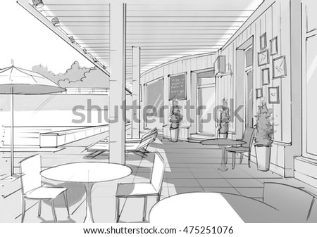 Cafe terrace with a wooden wall