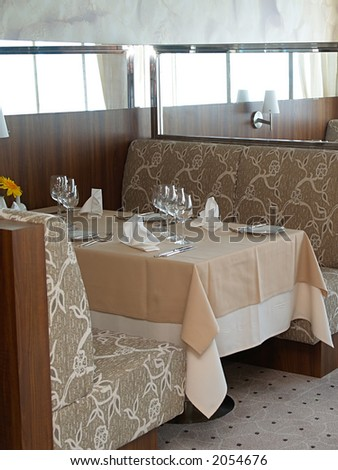 Cafeteria on large cruise ship, close-up - stock photo
