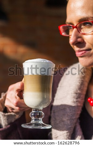 Caffe latte in a restaurant - stock photo
