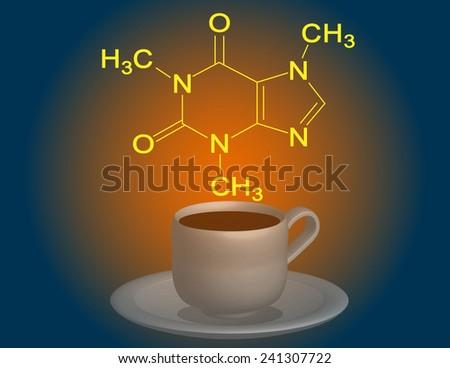 Caffeine molecular structure - stock photo