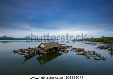 Cage fish farming - stock photo