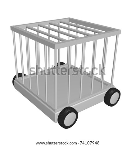 cage on wheels - 3d illustration - stock photo