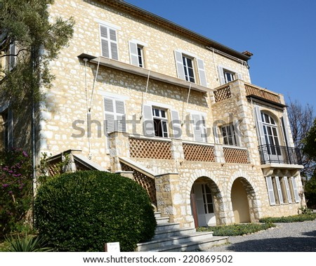 CAGNES/MER, FRANCE, SEPTEMBER 30: Auguste Renoir museum, shown in september 30, 2014 in Cagnes/Mer, France. The house of this impressionism master, become museum shelters this studio and paintings. - stock photo