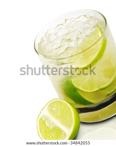 Caipirinha - National Cocktail of Brazil Made with Cachaca, Sugar and Lime. Isolated on White Background - stock photo