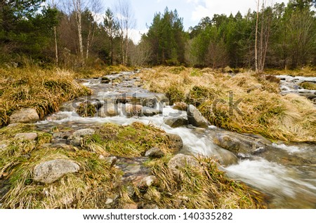 Cairngorm mountain stream / Rocky stream rushing down the Cairngorm mountains in Scotland - stock photo