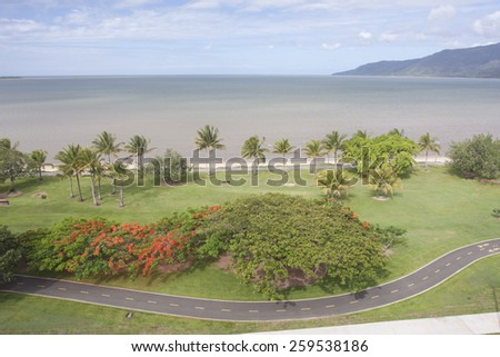 CAIRNS, AUSTRALIA - NOV 17: The beautiful coastline of Cairns, Australia on November 17 2011. The city is famous for the base to explore Great Barrier Reef. - stock photo