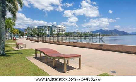 Cairns esplanade  a tourist town  in Queensland Australia