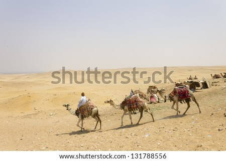 CAIRO, EGYPT - CIRCA JULY 2012 - Camel riders camping in Giza close to the pyramids in circa july 2012. Pyramids are the most well known monument in the world.