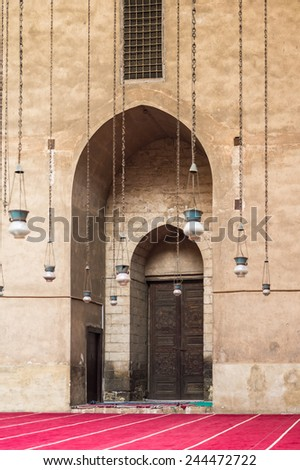 CAIRO, EGYPT - DEC 5, 2014: Mosque-Madrassa of Sultan Hassan, a Mamluk era mosque and madrassa found in 757 AH/1356 CE