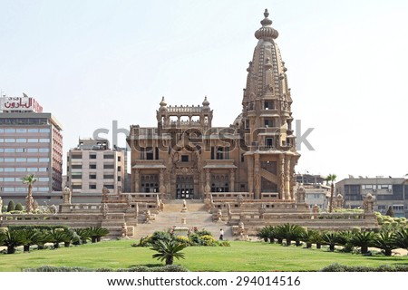 CAIRO, EGYPT - MARCH 03: Baron Palace in Cairo on MARCH 03, 2010. Abandoned Baron Empain Palace in Heliopolis City in Cairo, Egypt. - stock photo