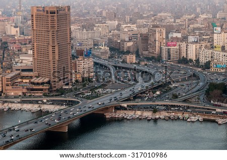 CAIRO, EGYPT - 20 NOVEMBER 2011: View of 6 October Bridge in central Cairo. - stock photo