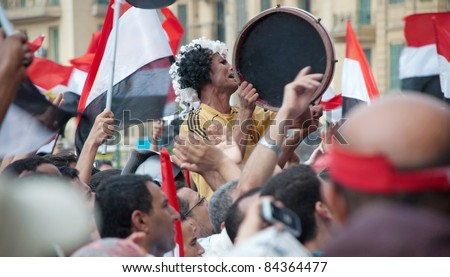 "CAIRO - SEPTEMBER 9: Thousands of Egyptians converged on Cairo's Tahrir Square on Friday to demand reforms in a turnout dubbed ""correcting the path of the revolution"".  Cairo, September 9, 2011 - stock photo"