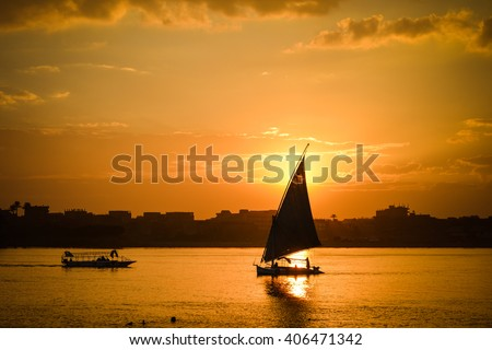 Cairo - Sunset over Nile  - stock photo