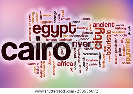 Cairo word cloud concept with abstract background - stock photo