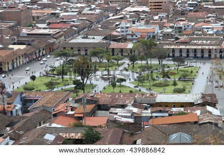 Cajamarca, Peru - June 18, 2016: High Angle view, looking east, of the Plaza de Armas Town Square in Cajamarca, Peru on June 18, 2016