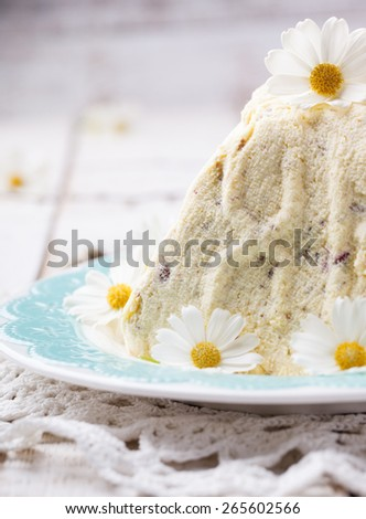 Cake, a Traditional Russian Orthodox Easter Desserts,cottage cheese and cream with pistachios,Rustic Style. Decorative flowers and willow.selective focus - stock photo