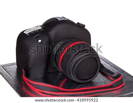 Cake camera to photograph birthday. On a white background. - stock photo