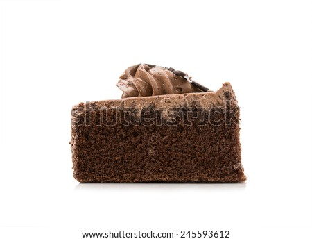 Cake chocolate  on white background