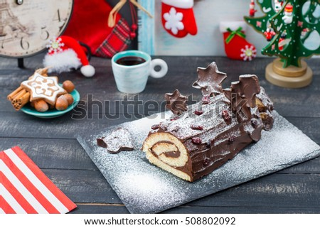 Gateau chocolate log