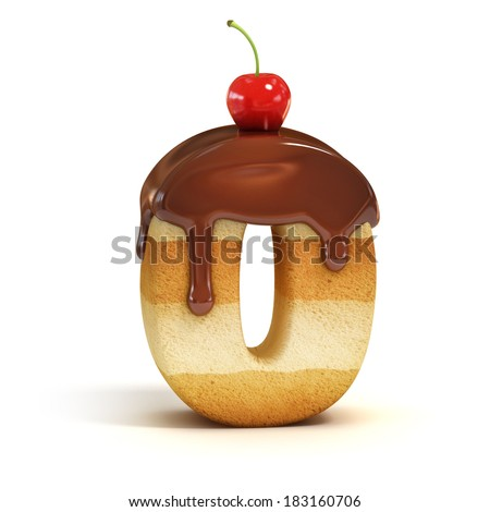 cake 3d font number 0 - stock photo