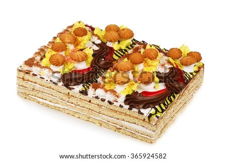 cake decorated with cream mushrooms isolated on white background - stock photo