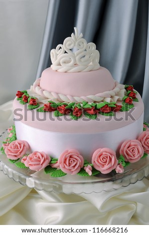 Cake for the Princess of marzipan - stock photo
