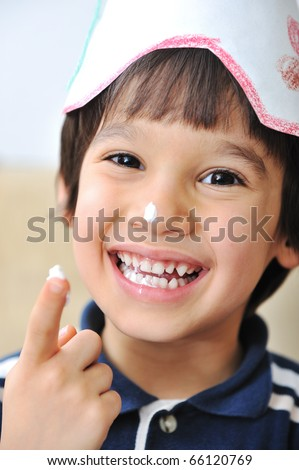 cake happiness, birthday - stock photo