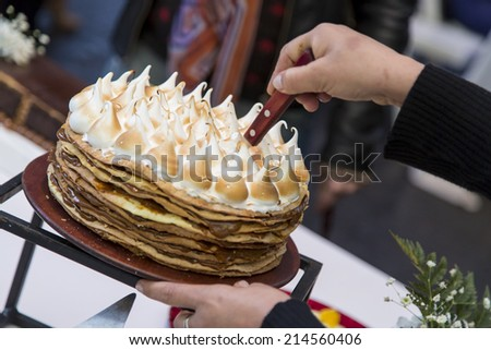 Cake, lemon pie on a social event, wedding or birthday. - stock photo
