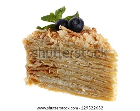 cake napoleon isolated on white background - stock photo
