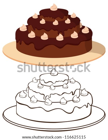 Cake on plate - color and outline illustration