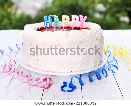 Cake on table close-up - stock photo