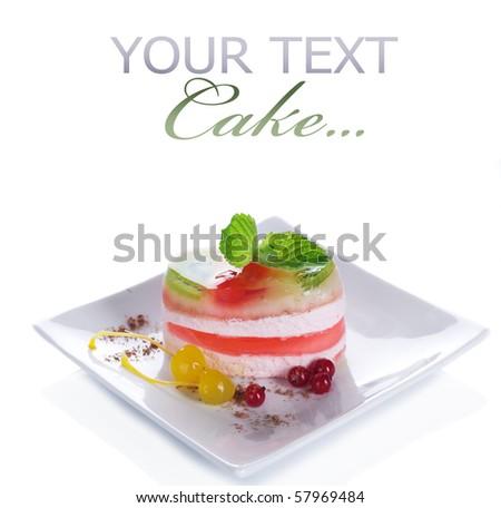 Cake over white.Light Dessert - stock photo