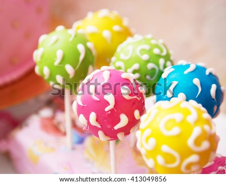 cake pops. Sweet candy on ctick - stock photo