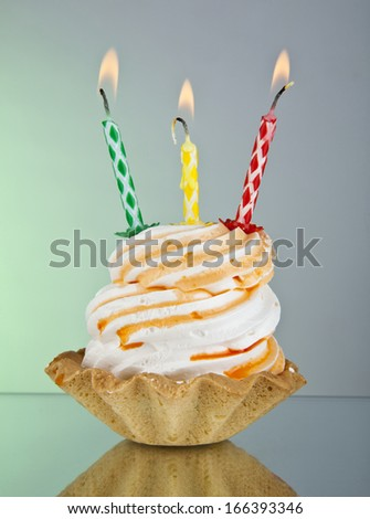 cake with a candle on a green background - stock photo