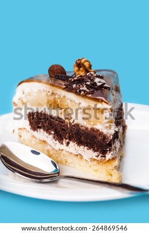 cake with a chocolate layer on a blue background