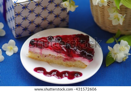 Cake with berry's - stock photo