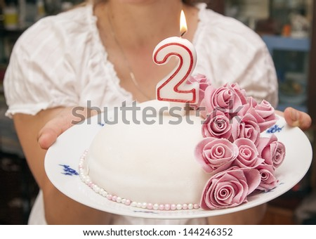 Cake With Candle - stock photo