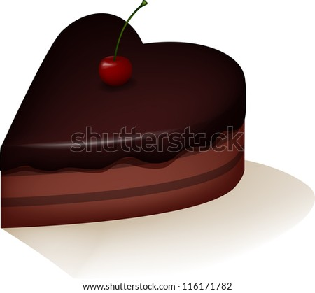 Cake with cherry - stock photo
