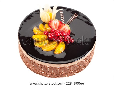 Cake with chocolate and fruits - stock photo