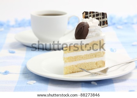 Cake with coffee isolated in white background