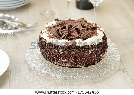 Cake with cream and chocolate - stock photo