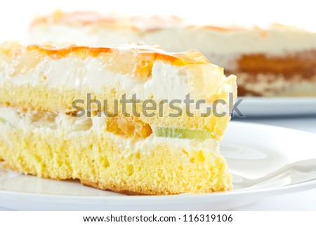 cake with cream and fruit on a plate