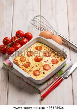 cake with ricotta cheese and tomatoes - stock photo