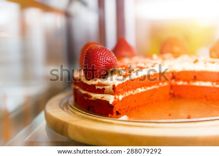 Cake with strawberry close up. Vintage filter. - stock photo