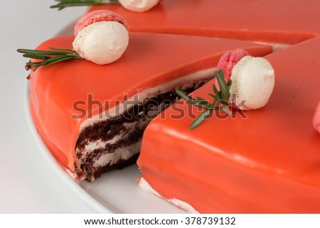 Cake with sugar paste, on light background - stock photo