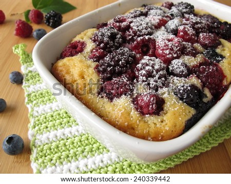 Cake with summer berries - stock photo